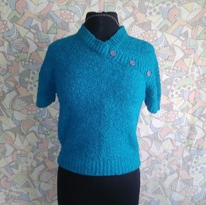 Vintage Teal Knit Blouse Size S by Irwill